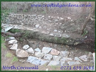Streamside stonework with Delabole slate. North Cornwall