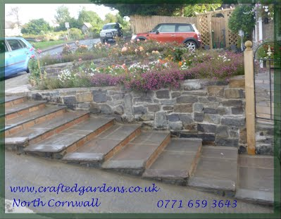 Paved steps and walling, Natural stone